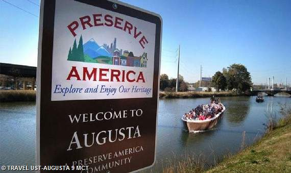 Preserve America Community sign along the canal in Augusta, Georgia