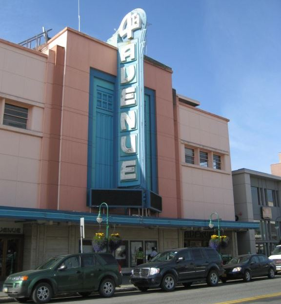 Street view of one of Anchorage's iconic buildings, the 4th Avenue Theater.