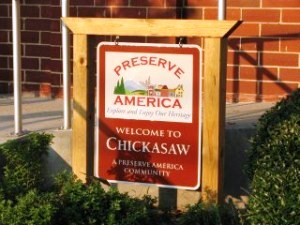 Chickasaw, Alabama proudly displays its Preserve America Community sign.