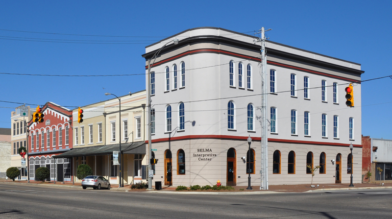 The Selma Interpretive Center, at the foot of the Edmond Pettus Bridge, is part of the Selma to Montgomery National Historic Trail established by Congress to commemorate the 1965 Voting Rights March.