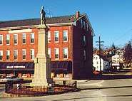 A view of Monument Square in Blackstone, Massachusetts