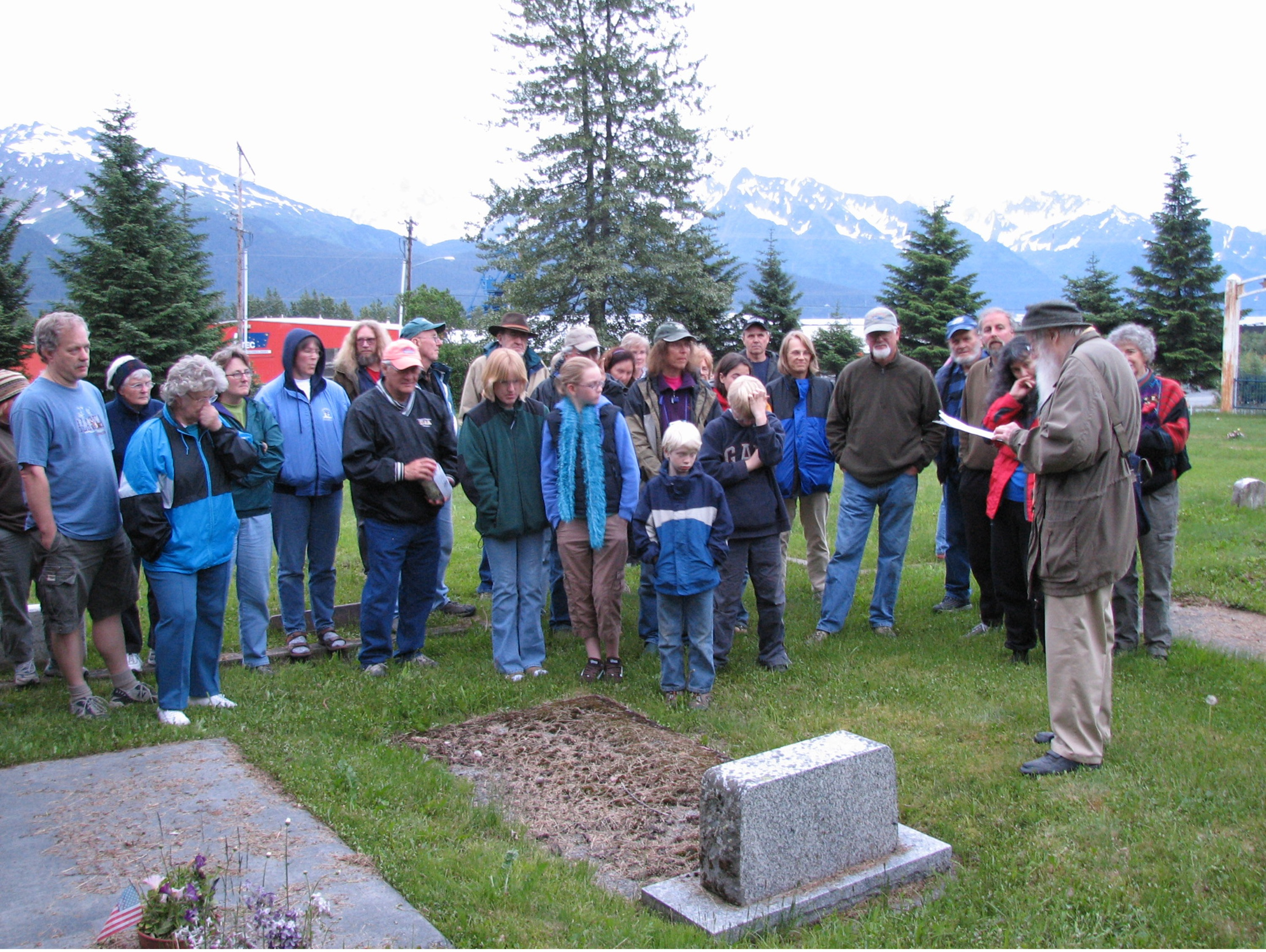 Summer Solistice Cemetery Walk participants learn about important historical figures buried there.