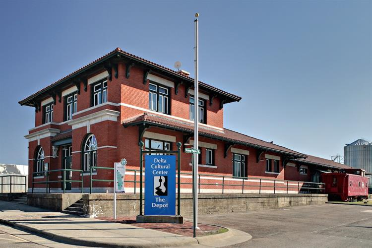 The Missouri Pacific Train Depot (1912) is one of the historic buildings that make up the Delta Cultural Center in Helena, Arkansas.