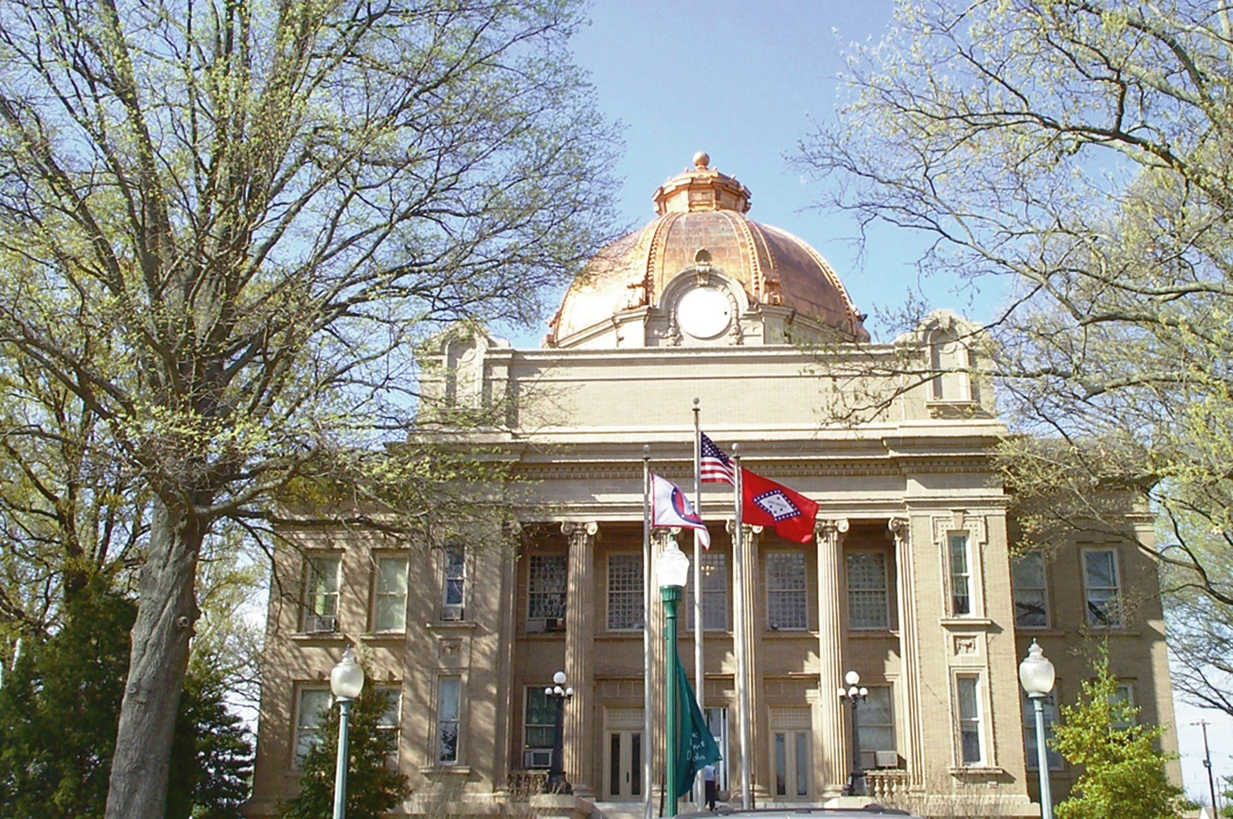 Osceola, one of two county seats in Mississippi County, Arkansas, features a beautiful 1912 Neo-Classical courthouse with a copper roofed dome.