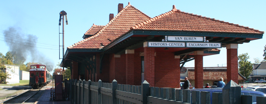 The Old Frisco Depot, a Van Buren landmark for over a century and now home to the Van Buren Visitors Center and boarding point for the Arkansas Missouri Railroad's excursion train