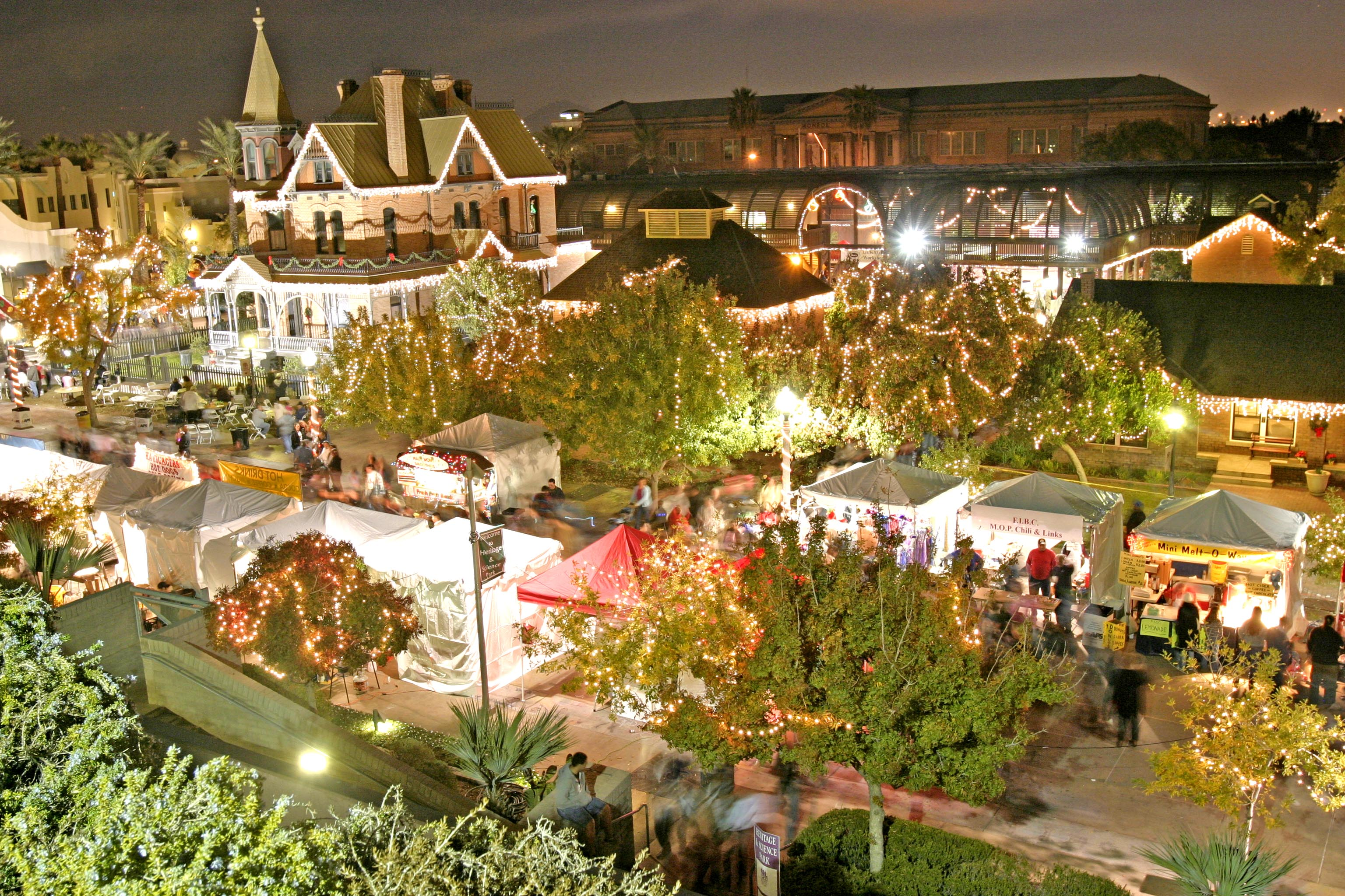 Heritage Square in Phoenix, Arizona, is illuminated with holiday decorations