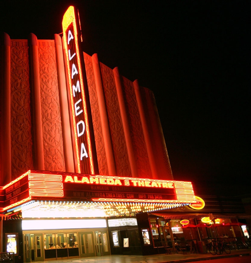 The 1932 Alameda Theater in the Park Street Historical Commercial District was restored and expanded by a public-private partnership and reopened with a gala event in 2008.