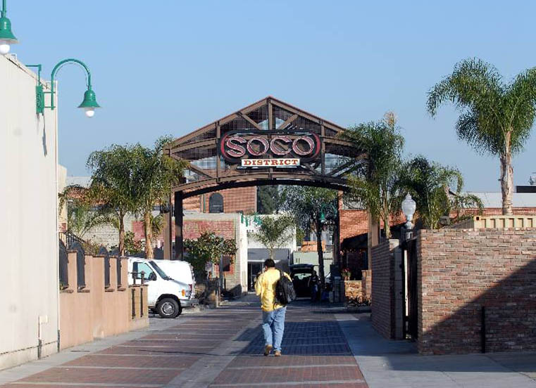 Fullerton's SOCO (south of Commonwealth) District, once a neglected area of the city, was redeveloped into a thriving center of business, residential, and entertainment activity.