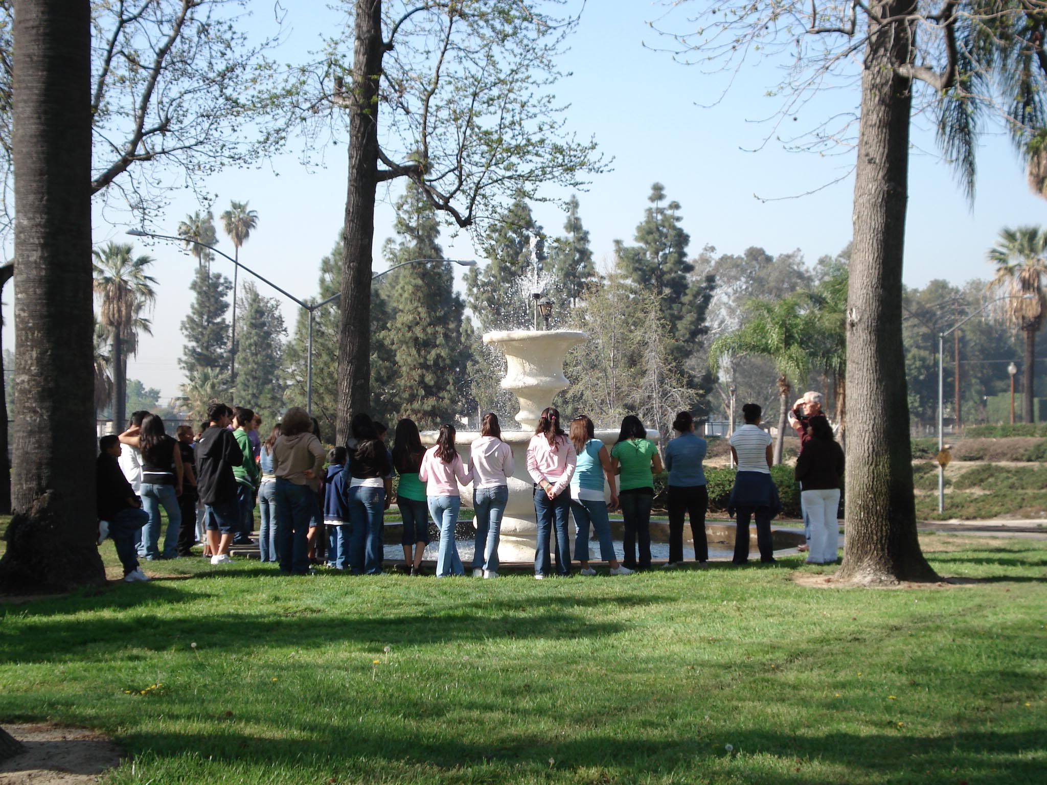 High school students viewing the restored Frankish Fountain in Ontario, California