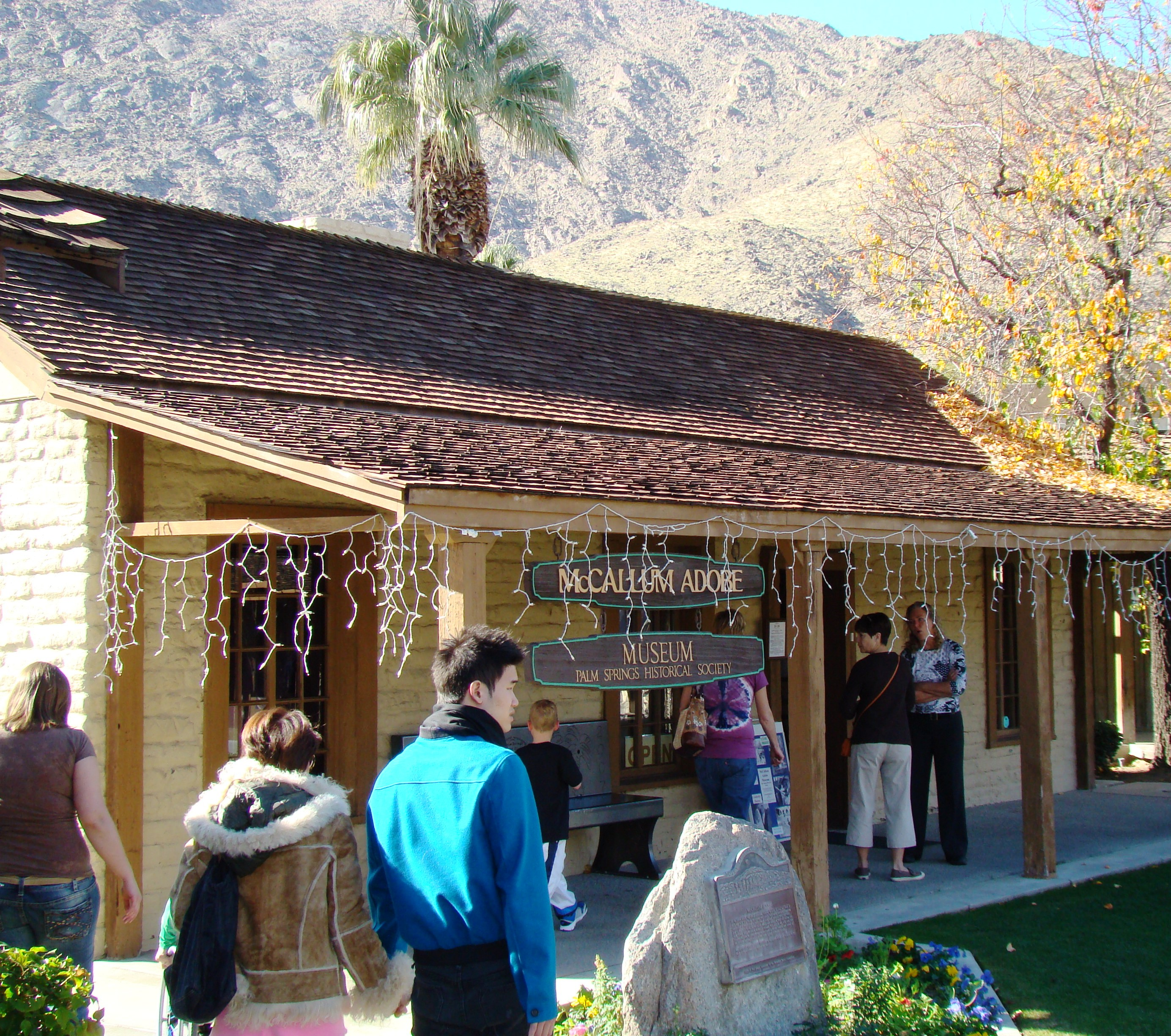 The McCallum Adobe (1884) is one of several early historic buildings housing the Palm Springs Historical Society.