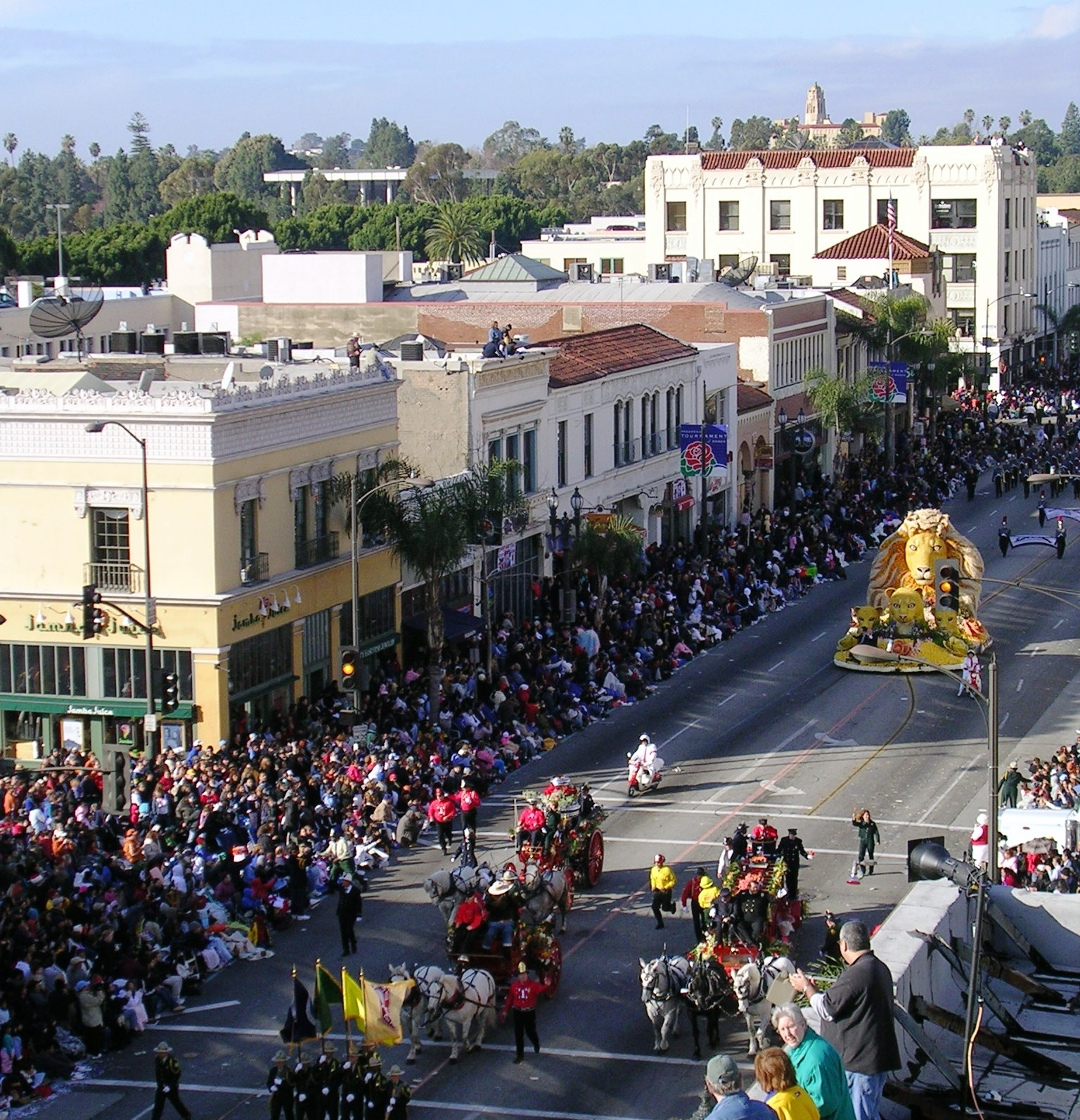 The Tournament of Roses parade passes through Old Pasadena. Pasadena hosted the first Tournament of Roses parade in 1890.