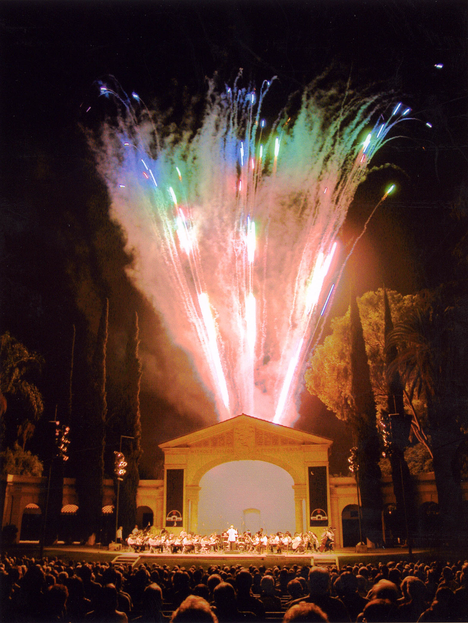 Fireworks at the Redlands Bowl (1930), home of the oldest continuously free outdoor concert series in California