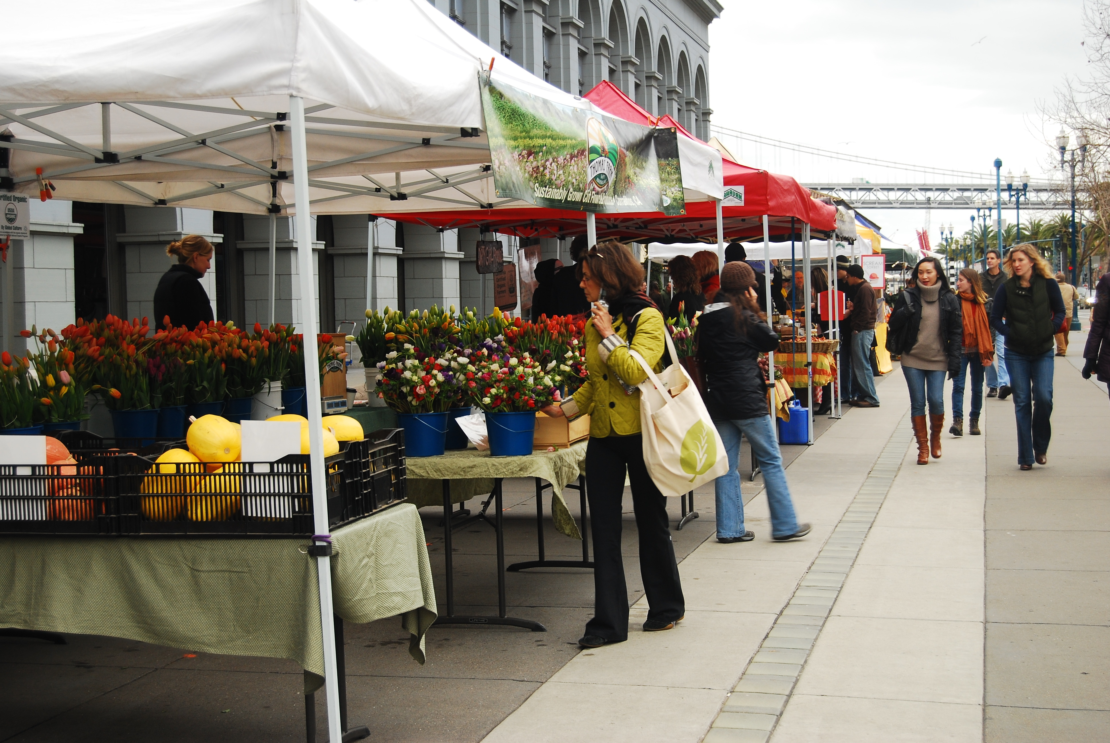 A San Francisco farmer's market in front of the historic Ferry Building