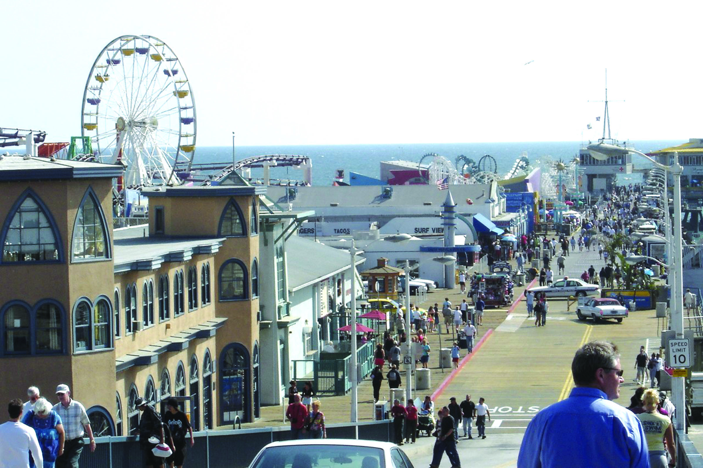 The restored Santa Monica Pier is an iconic symbol of the city and a major tourist attraction.