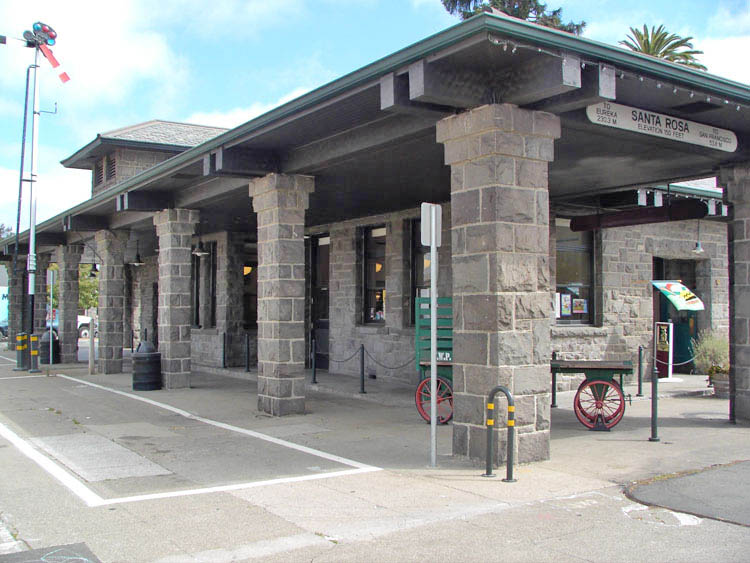 Santa Rosa's train station on Railroad Square, which is listed on the National Register of Historic Places