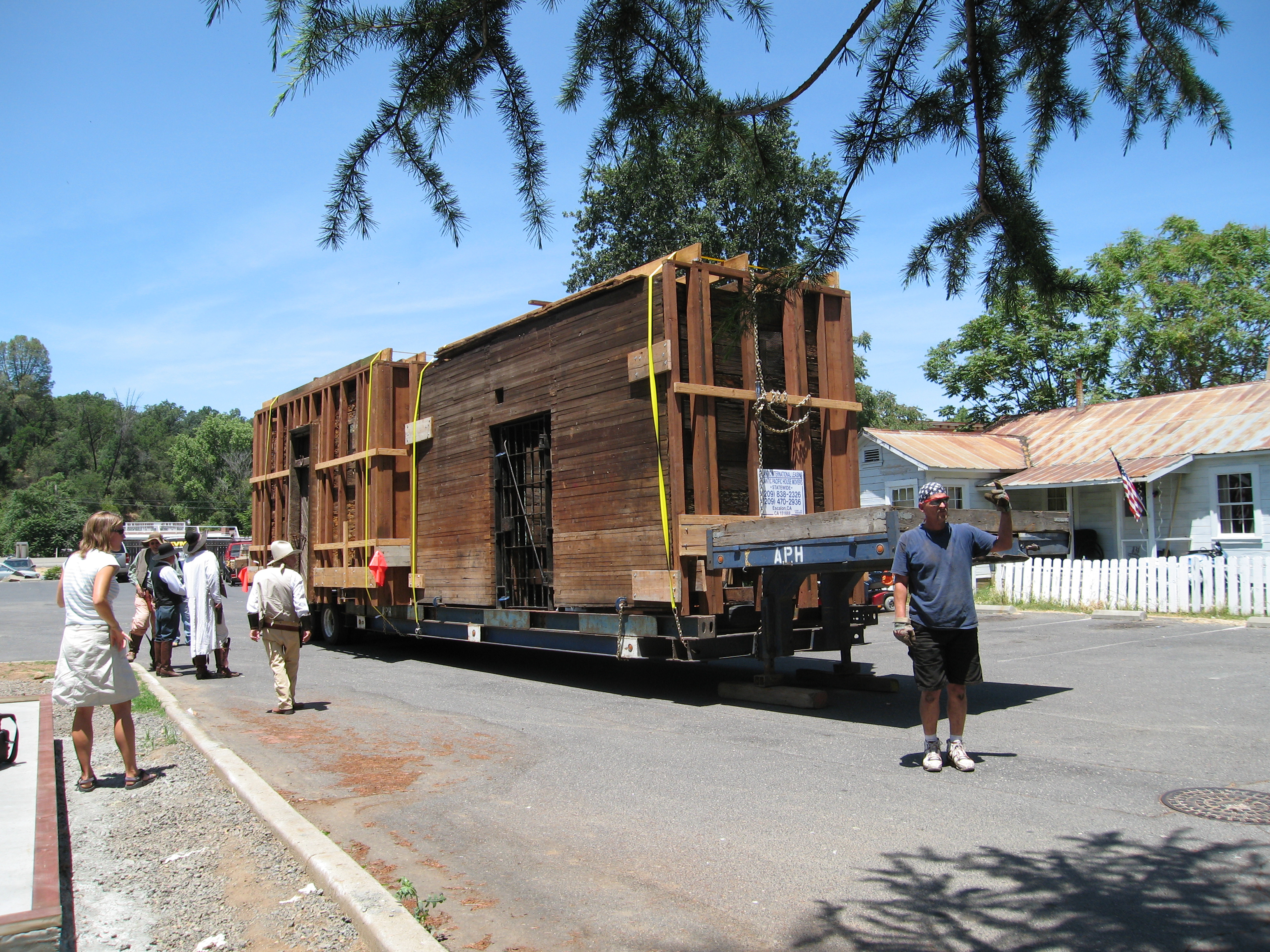 The historic Jamestown Branch Jail being returned in 2007, after being sold and moved to Pollardville in 1964.