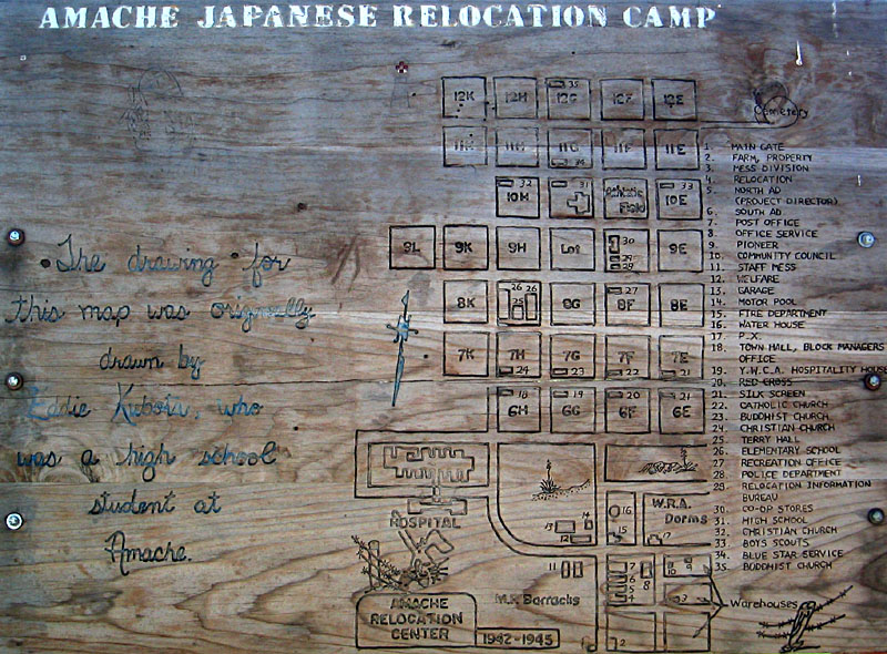 A map of Camp Amache, site of a WWII era Japanese Internment Camp. The Granada Relocation Center was one of ten relocation camps authorized by President Roosevelt in 1942. Prowers County citizens participate in the preservation and interpretation of this National Historic Landmark.