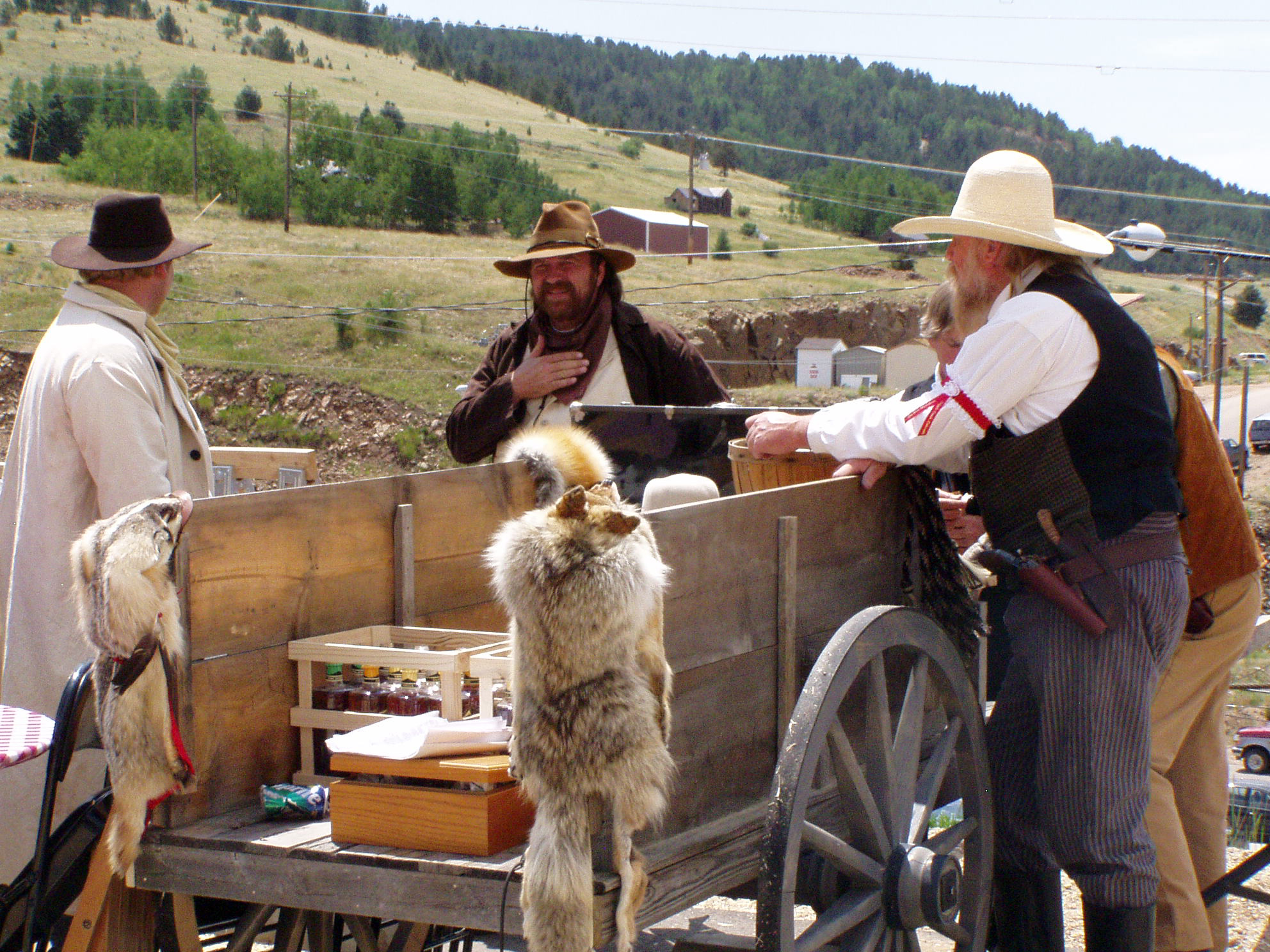Reenactors with wagon in Cripple Creek, Colorado