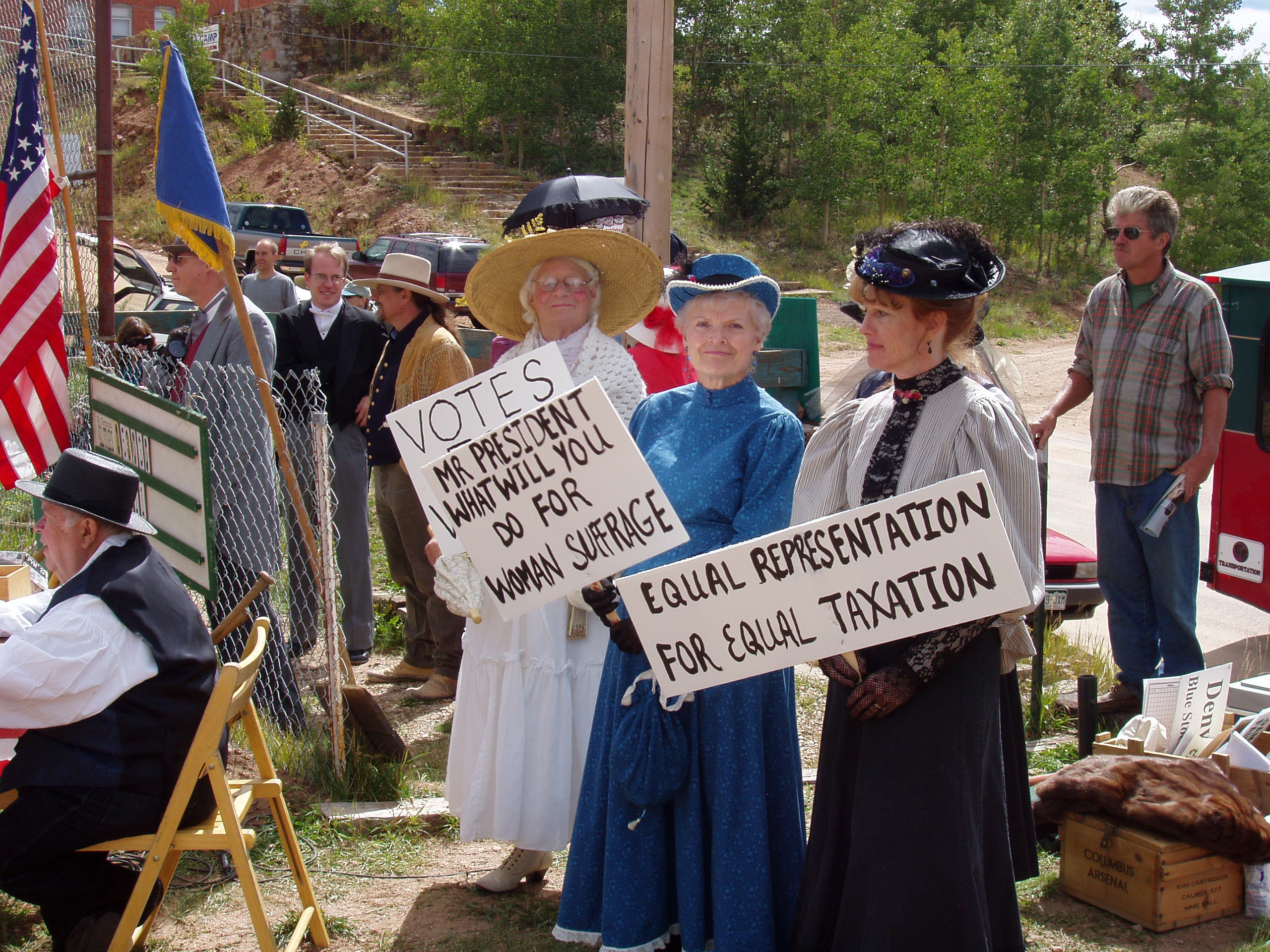 """Sufferagettes"" picket a vintage baseball game in Cripple Creek, Colorado"