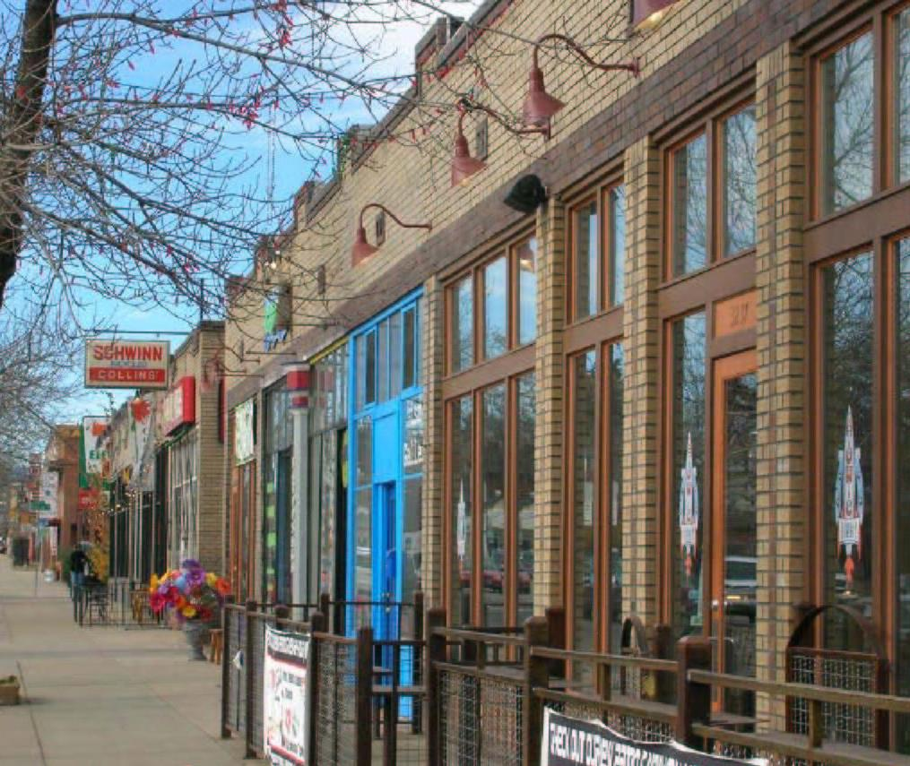 Revitalized storefronts on Colfax Avenue in Denver, Colorado