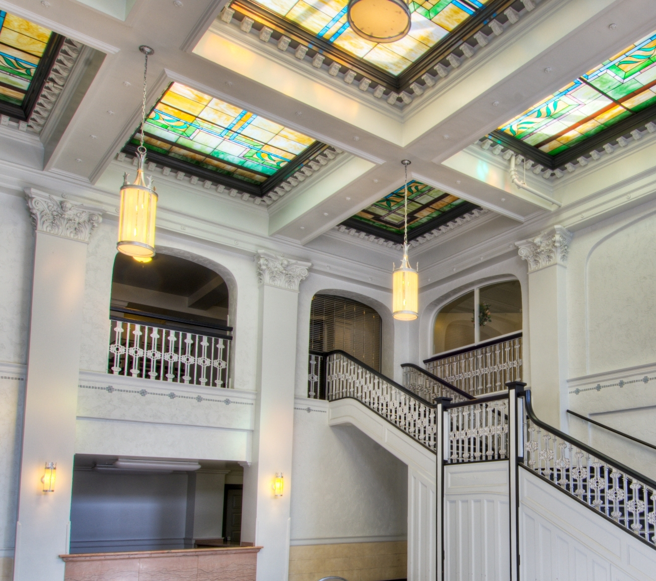 The restored lobby of the Northern Hotel in Fort Collins, Colorado