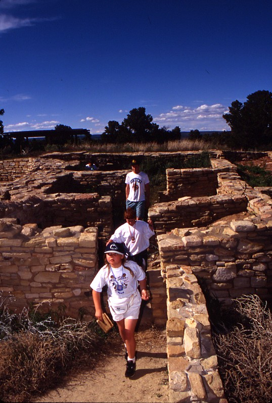Children enjoy exploring Escalante Pueblo. The Anasazi Heritage Center provides information about and access to three Ancestral Pueblo sites: Escalante Pueblo (ADA accessible), Dominguez Pueblo, and Lowry Pueblo, in addition to museum exhibits on archaeology, local history, and Native American culture. It is the starting point for visits to Canyons of the Ancients National Monument.