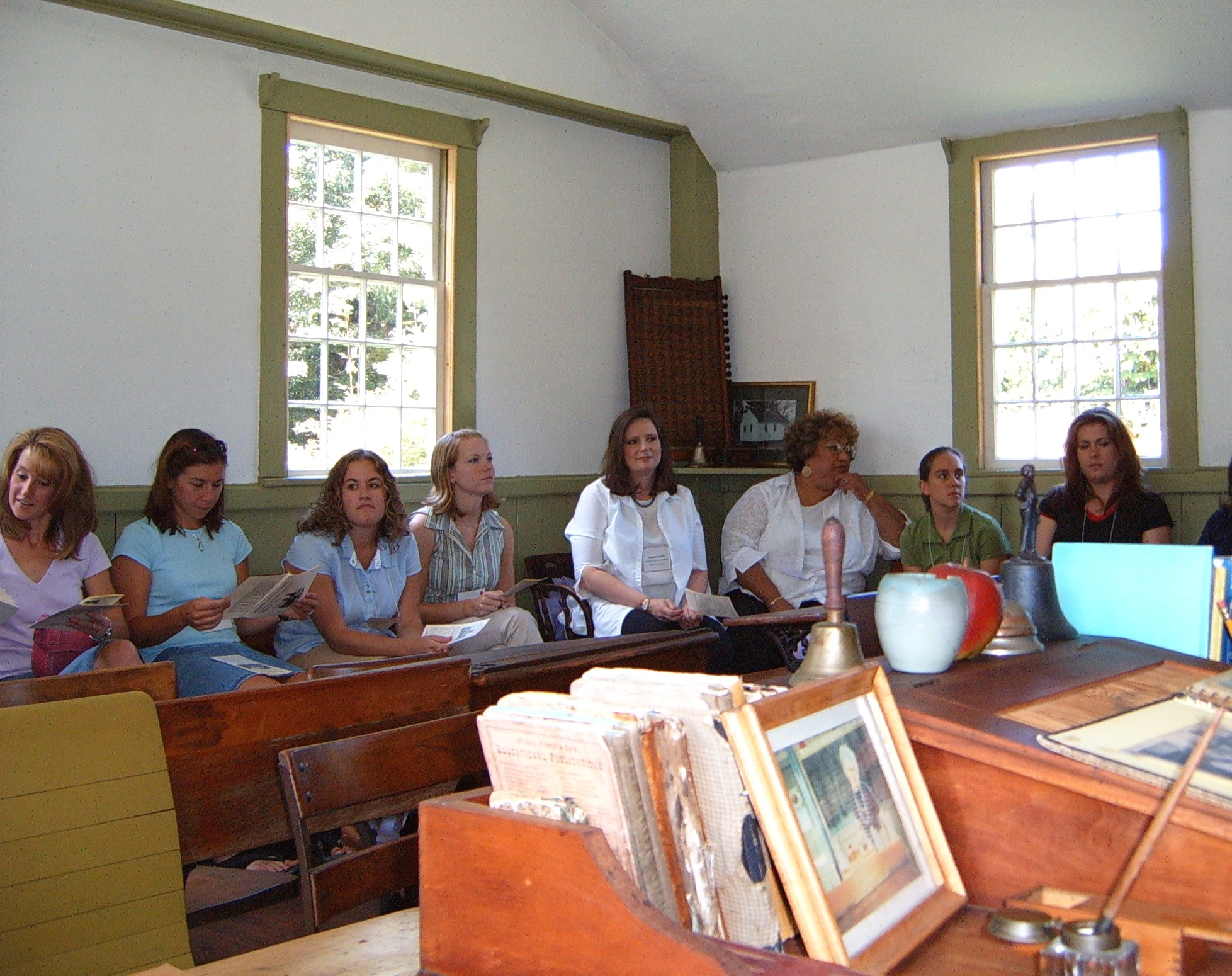 Teacher training being held in the one-room Gull Schoolhouse in Hebron, Connecticut