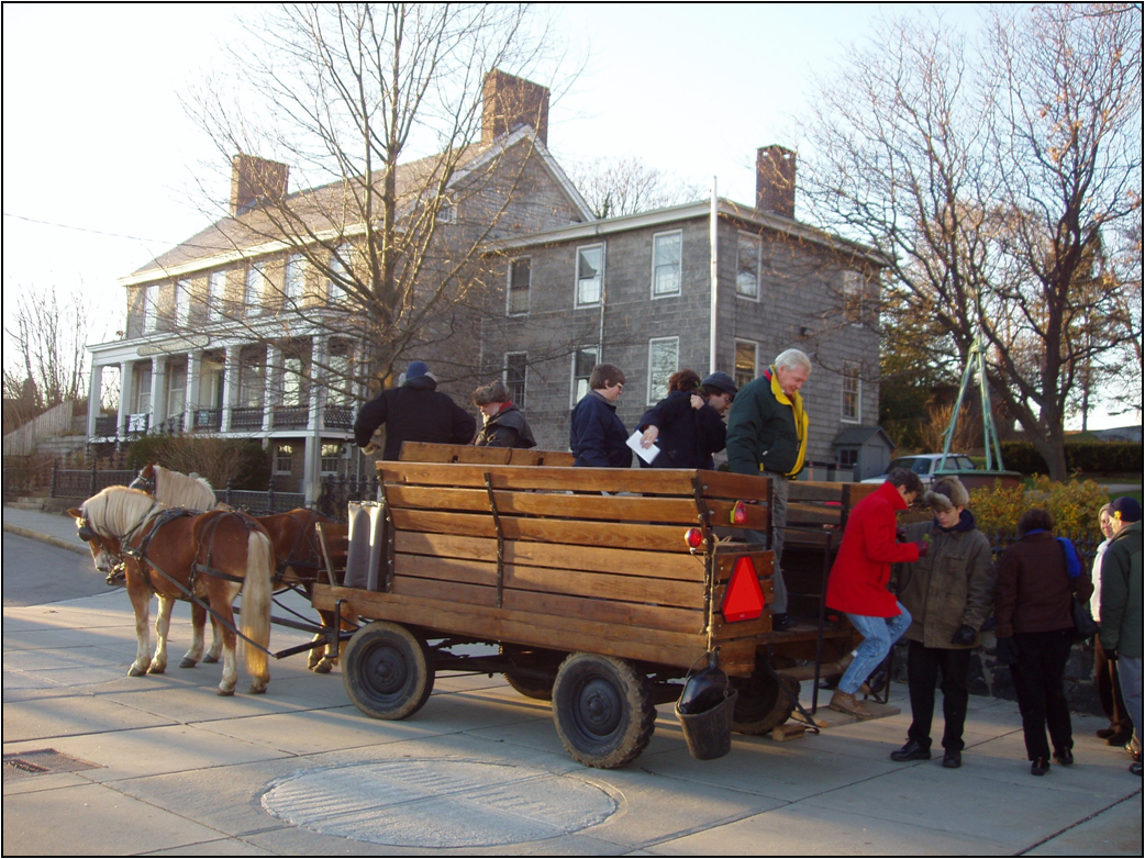 A wagon ride in historic New London, Connecticut