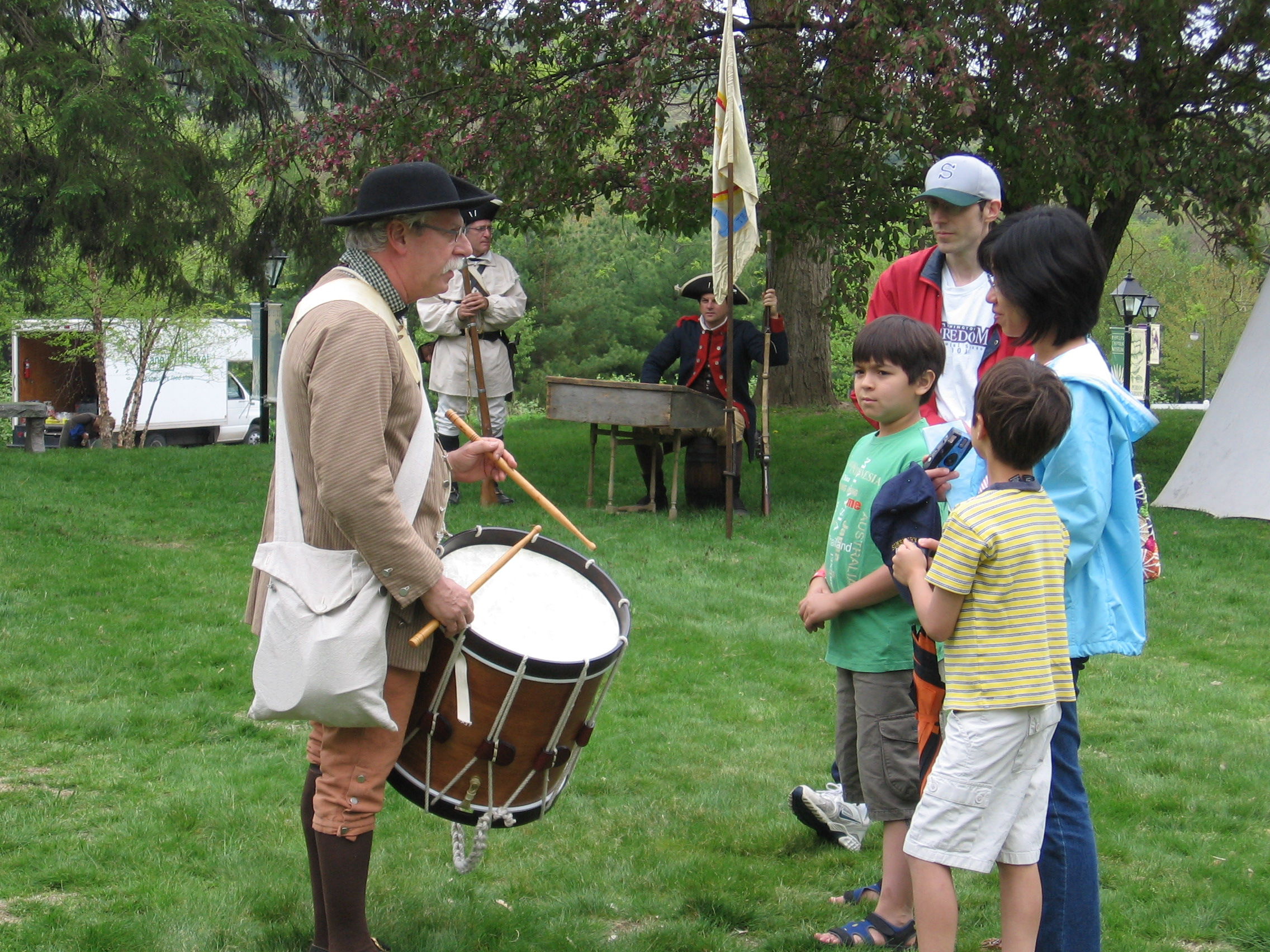 The annual Simsbury Muster, a living-history celebration, recreates and interprets the mustering of the town's militia in 1775 following the Battle of Lexington.