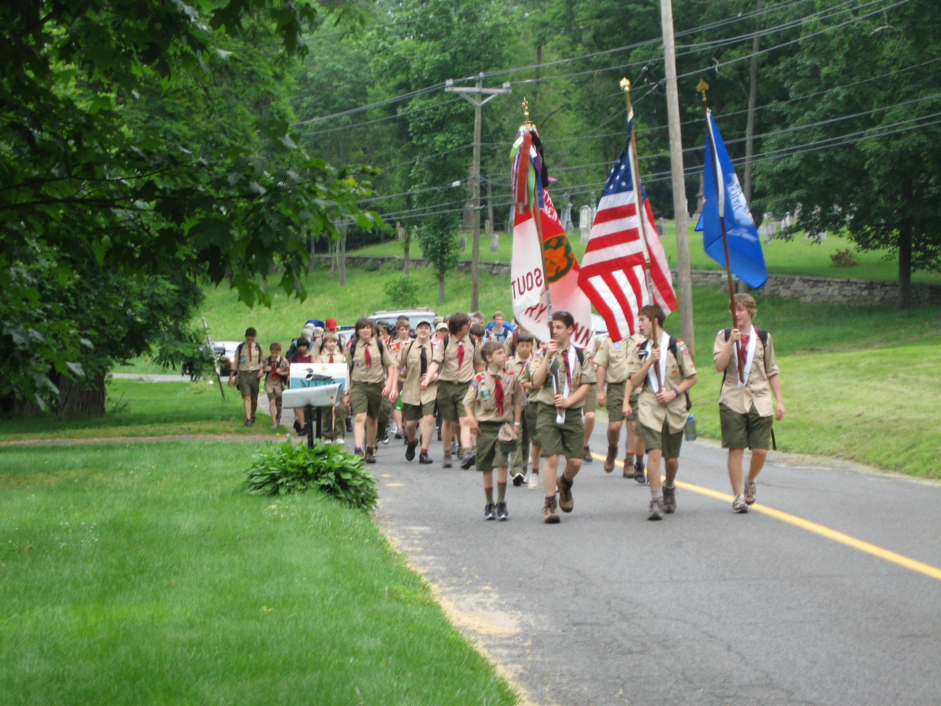 Boy Scouts participate in the March to Victory Rochambeau Weekend in 2006. This event honored the historic march of Comte de Rochambeau through Southbury during the Revolutionary War.