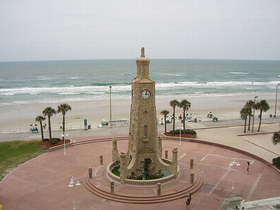 Daytona Beach's Coquina Clock Tower was constructed alongside the Daytona Bandshell. Construction on  both started in 1936 and they were dedicated in 1938. Both were built as part of a Work Progress Administration (WPA)  project and are listed on the National Register of Historic Places.