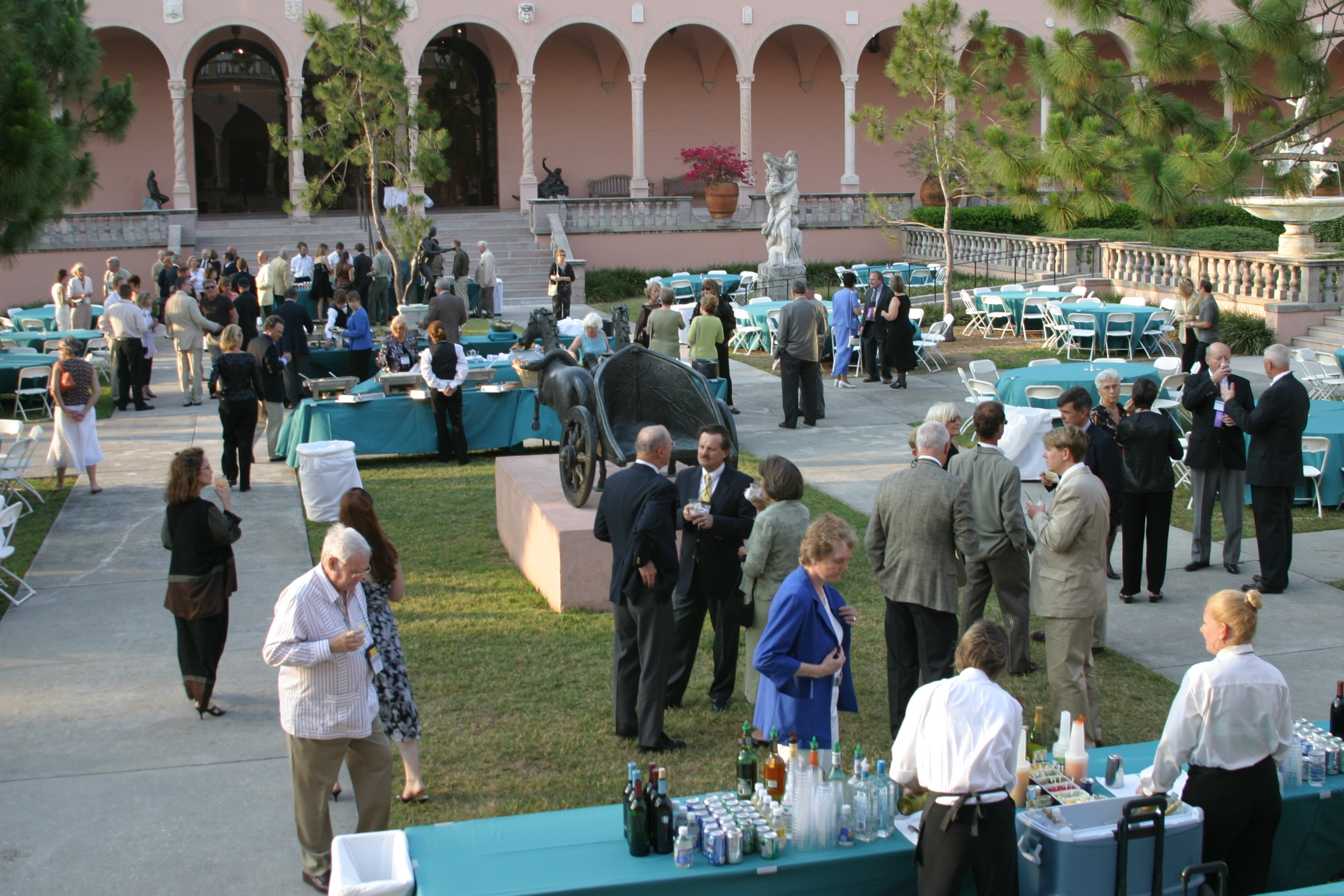 John Ringling, of circus fame, built a mansion called Cà d'Zan in Sarasota, Florida, and filled it with European art treasures. Here participants enjoy a reception outside the Ringling Museum of Art.