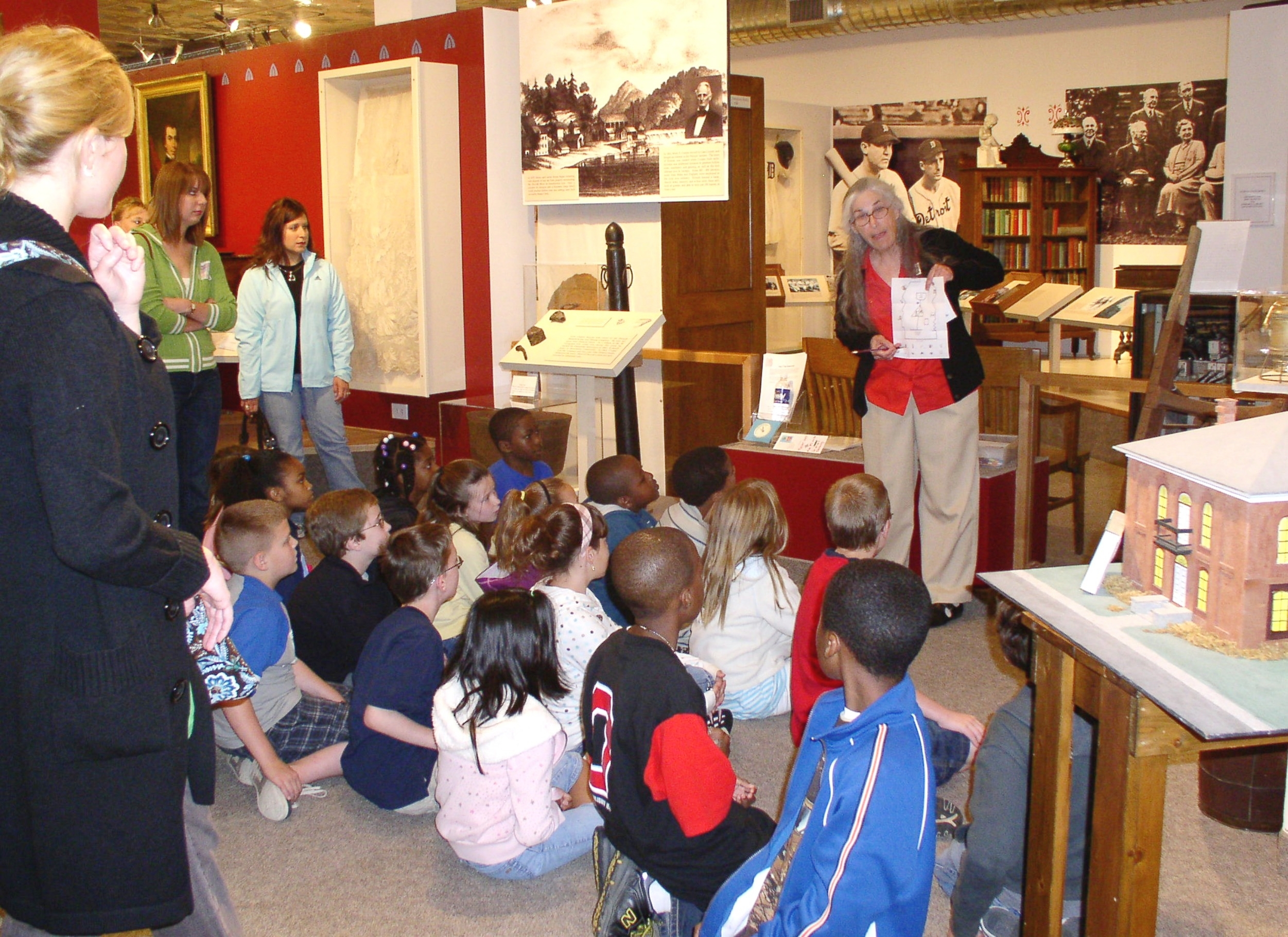 Children learn about local history at the Barstow History Museum in Cartersville, Georgia. The museum includes exhibits on the area's Native American heritage, the Civil War in Bartow County, the plantation era, industrial growth, and famous local individuals.
