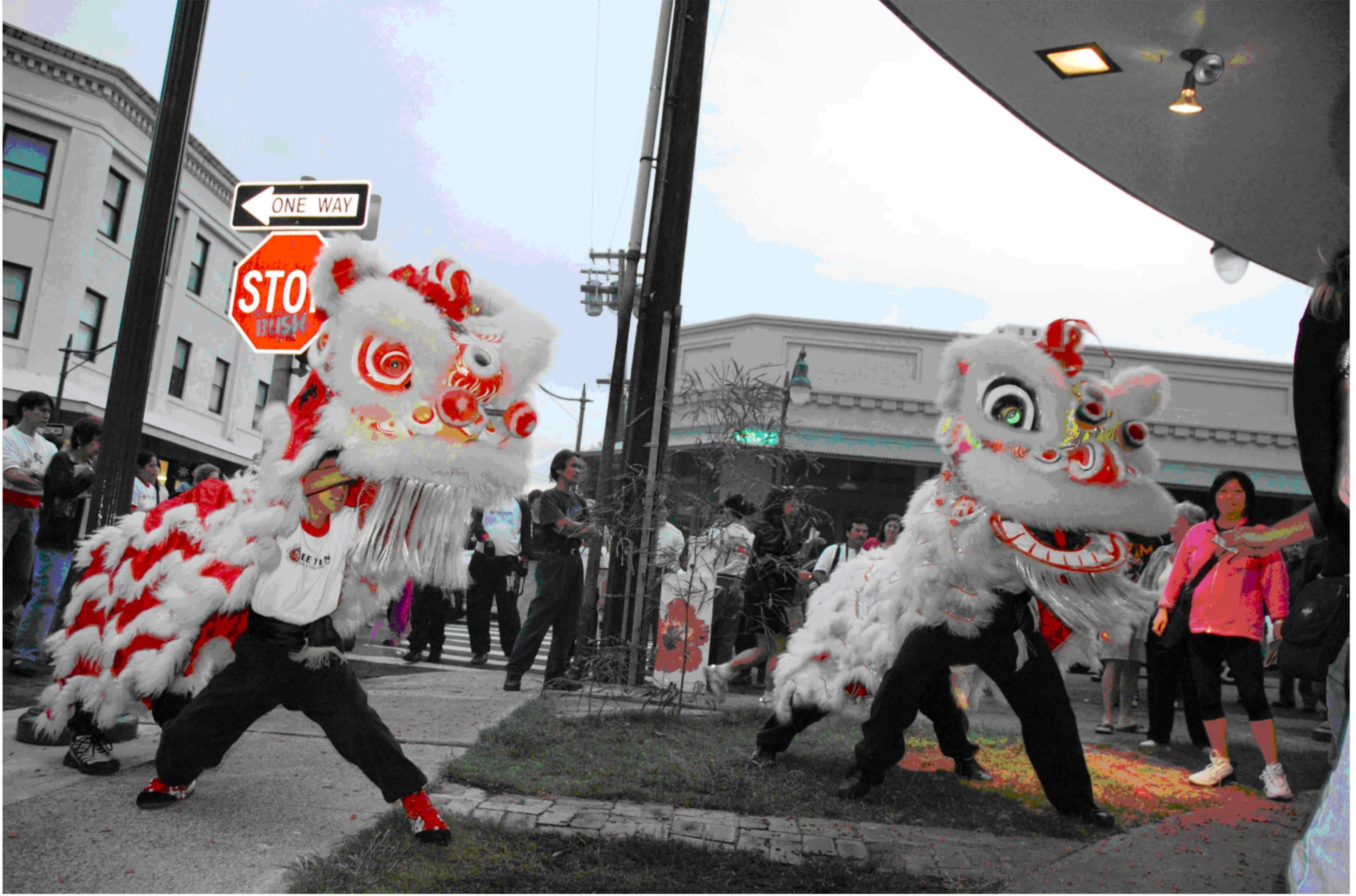A dragon dance in the Chinatown Special Historic District in Honolulu, Hawaii