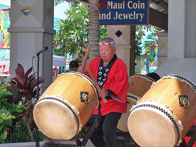 Traditional Japanese Taiko drumming demonstration during the annual Cultural and Arts Day in Maui County, Hawaii
