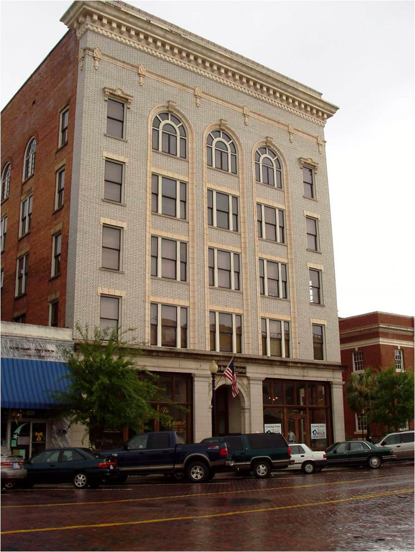 The façade of this five story building in Thomasville, Georgia's Commercial Historic District has been rehabilitated to preserve the building's historic character.