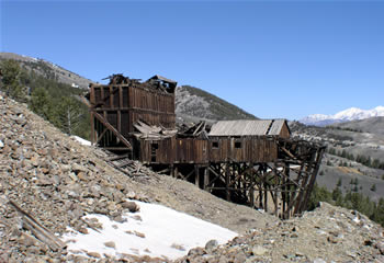 Mackay developed a 20-mile, self-guided interpreted tour of its historic mining sites and structures, such as this mine tramway. Mackay's Mine Hill Tour attracts hundreds of visitors each year.