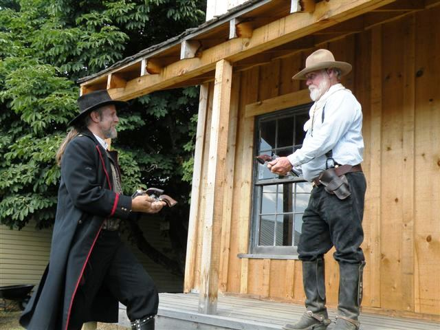 """Legends of the Old West"" shooting performance, part of ""1860 Days"", an annual event in Pierce, Idaho. The event recognizes Pierce's contribution to the start of the Idaho Gold Rush and the establishment of the first mining town in Idaho."