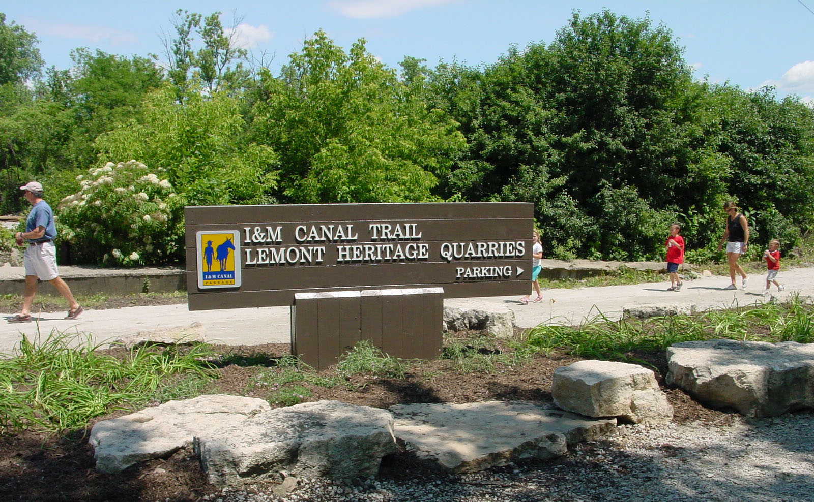 Miles of walking trails in the Lemont Heritage Quarries Recreation Area provide recreational opportunities along the historic Illinois and Michigan Canal