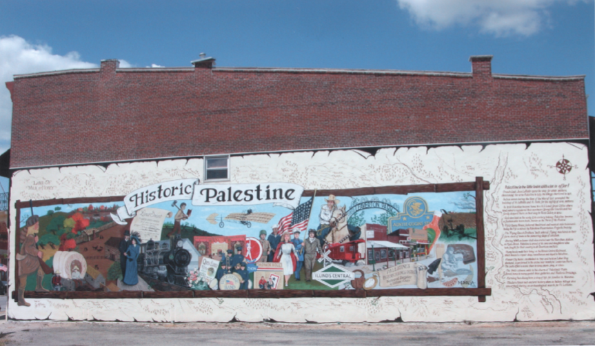 A mural depicting some highlights of the colorful history of Palestine, Illinois