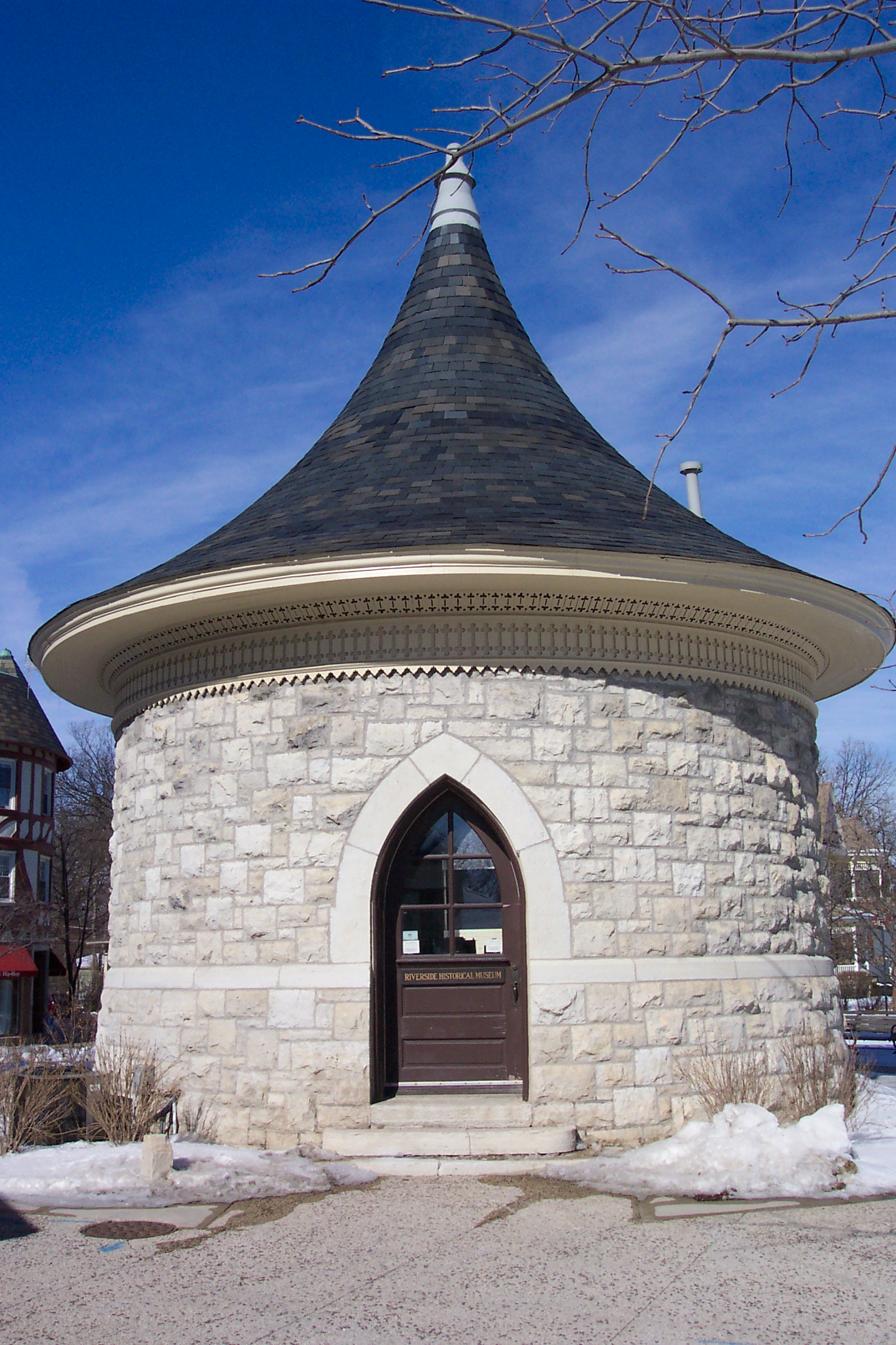 The Riverside Water Tower (1870), the symbolic centerpiece of Riverside, was recently restored and now provides a venue for the Riverside Museum to display exhibits on local history.
