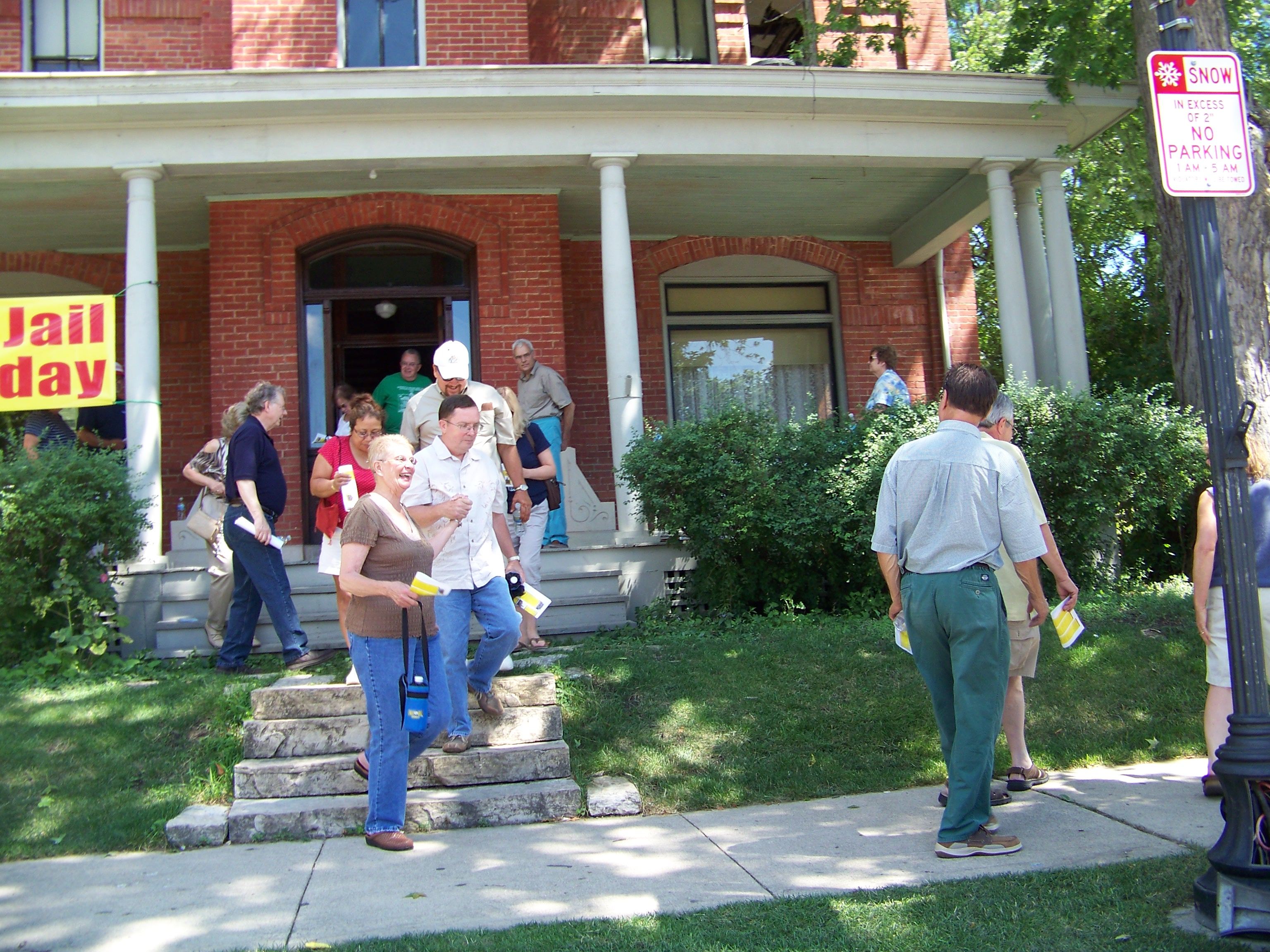 Participants enjoying a tour of the Old Sheriff's House and Jail (1882) in Crown Point, Indiana