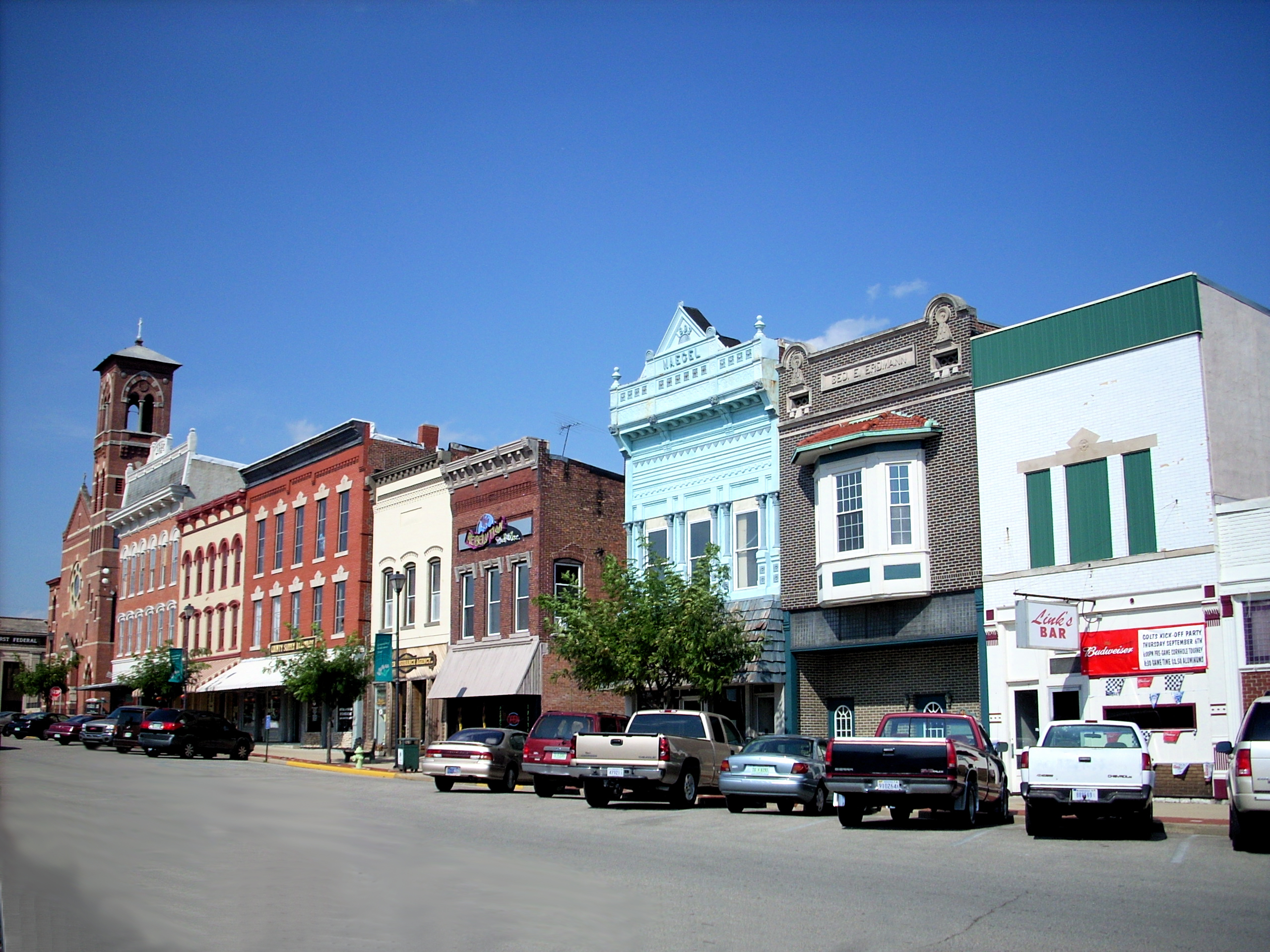A streetscape in the Greensburg, Indiana, East Side Historic District