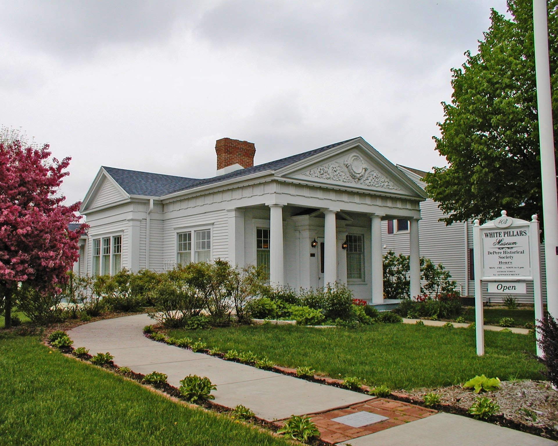 The De Pere Historical Society's White Pillars Museum is housed in an 1836 Greek Revival building.