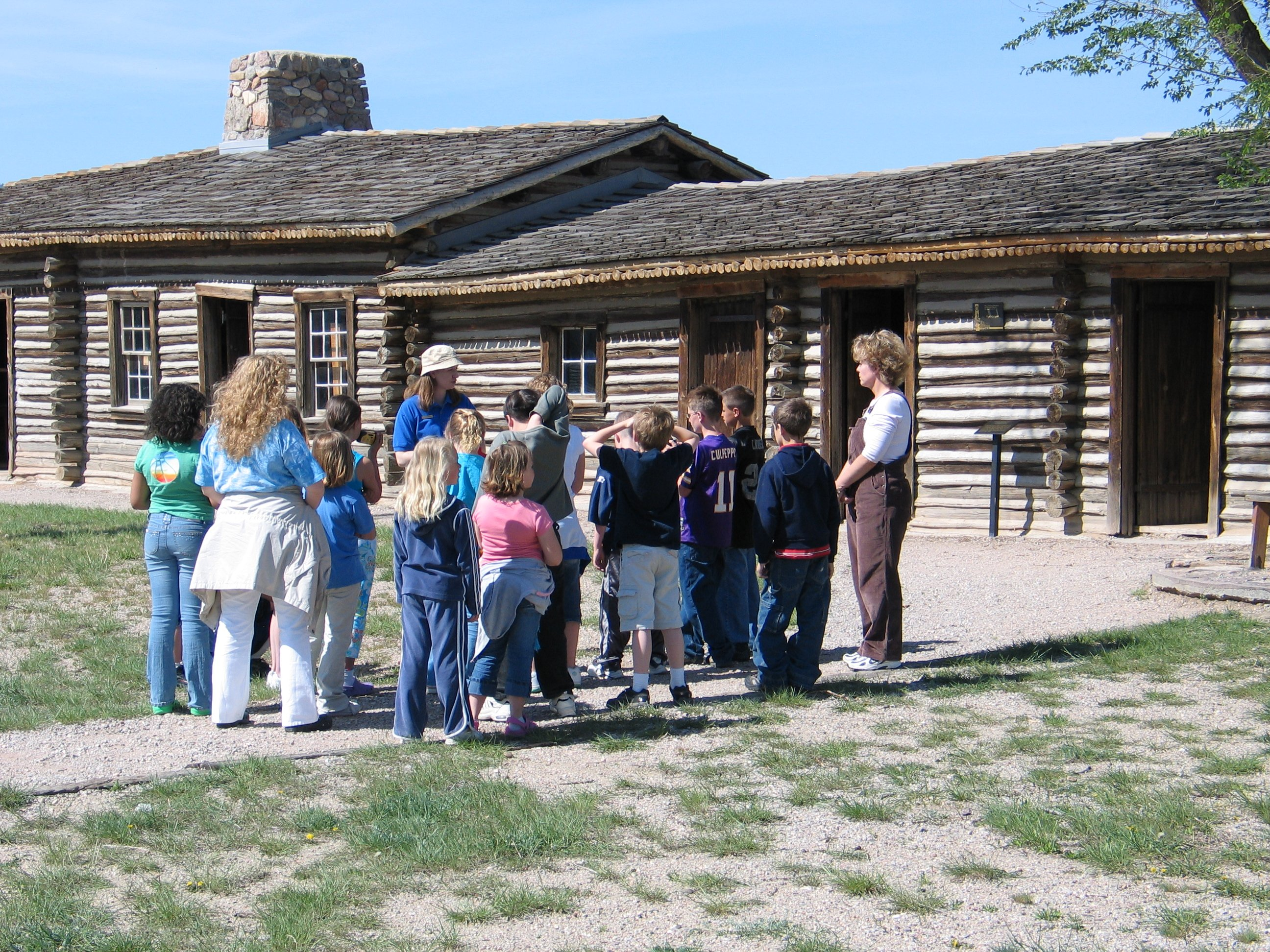 A school group visits reconstructed Fort Caspar.