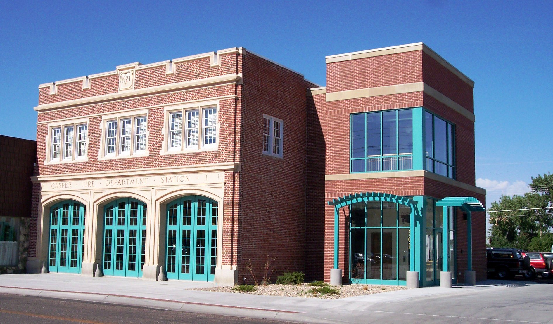 The adaptively reused Casper Fire Station following rehabilitation.