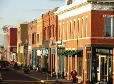 A streetscape in Laramie's historic downtown.