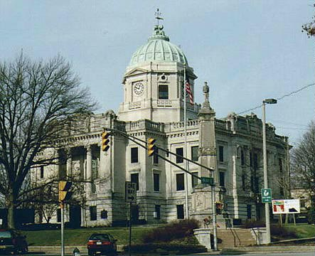 The Monroe County Courthouse in Bloomington, Indiana