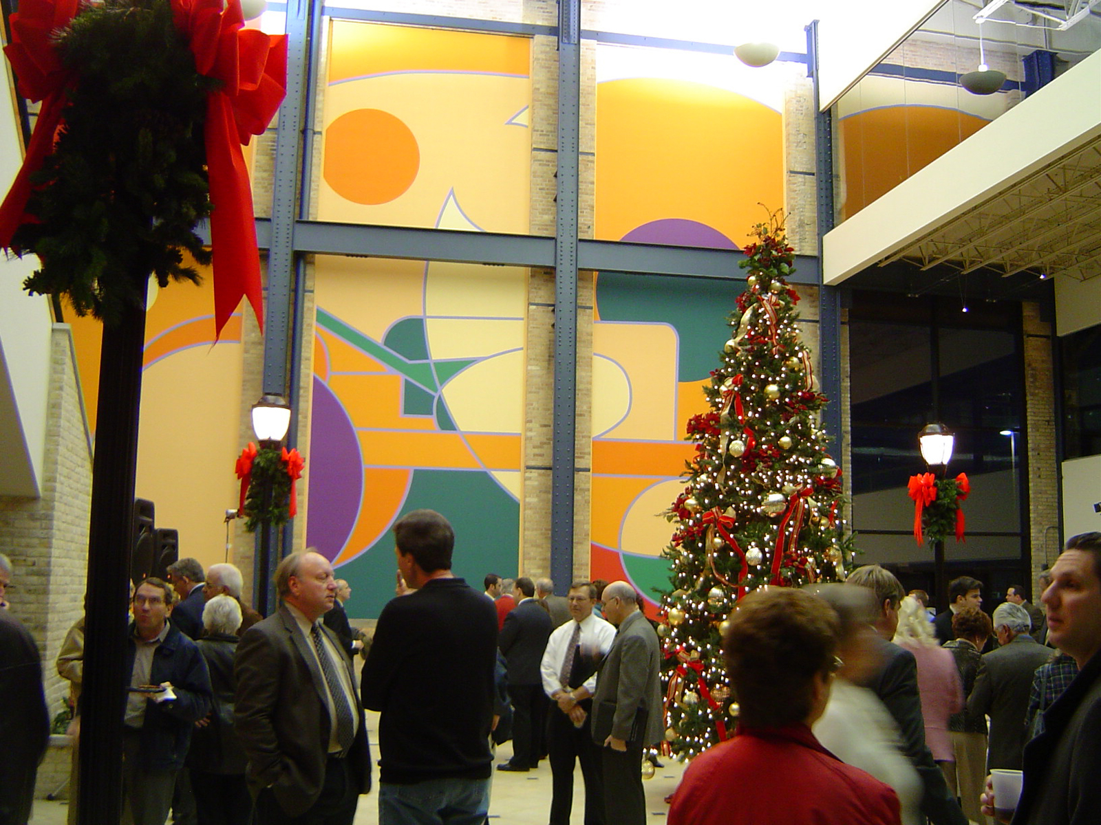 Holiday celebration in the newly rehabilitated Summit Place, originally part of the historic Allis-Chalmers manufacturing complex.
