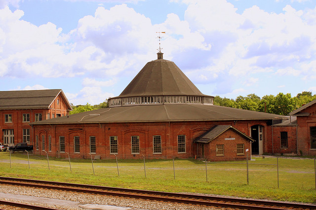 The Martinsburg Roundhouse, part of the city's historic Baltimore and Ohio Railroad shop complex. (Photo by Brent Moore.)